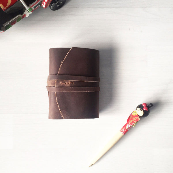 Leather pocket notebook brown