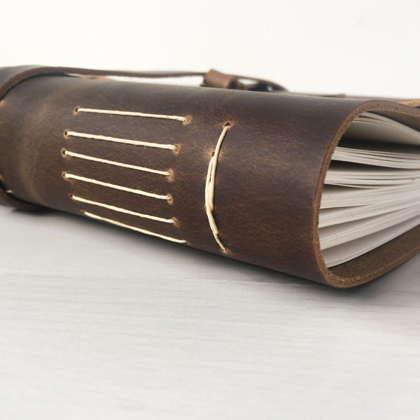 Brown leather bound recipe book side