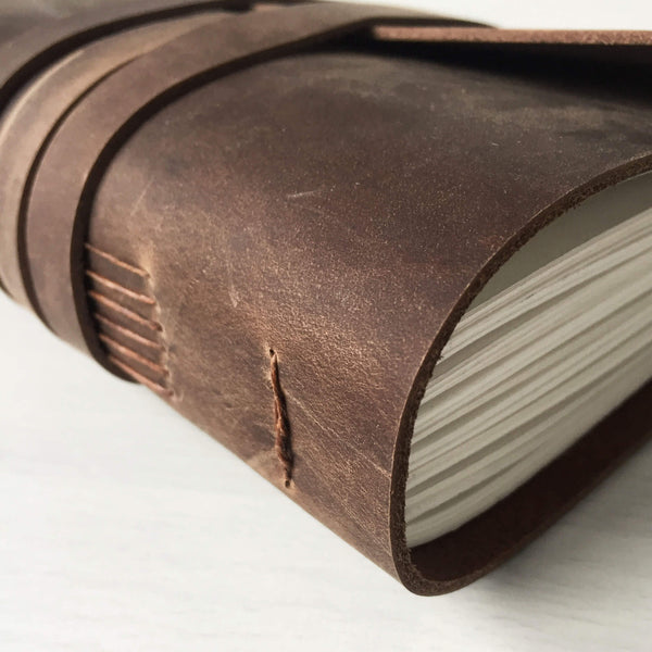 Leather bound sketchbook close up