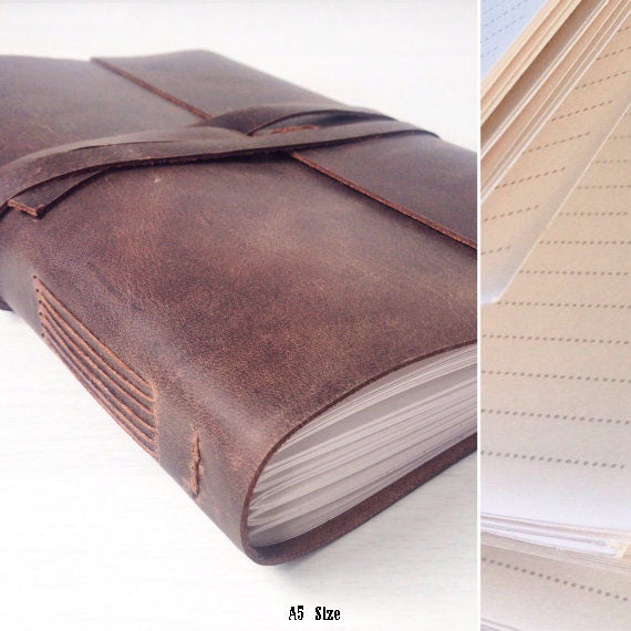 A5 lined leather journal