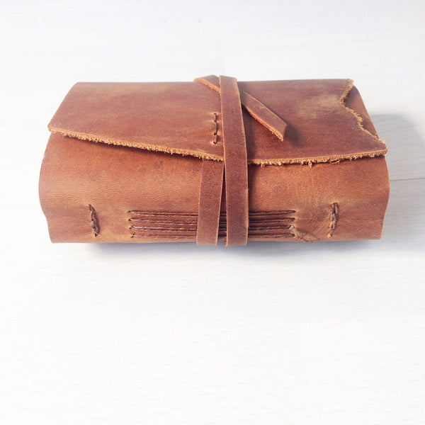 Mini journal, A7, Tan leather, side view