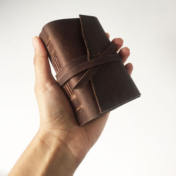 Mini notebook brown leather
