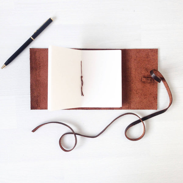 Open pages of brown leather mini sketchbook