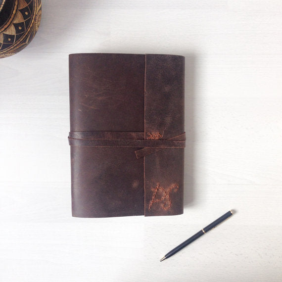 Monogrammed journal brown leather