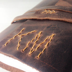 Monogrammed leather journal with hand stitched initials
