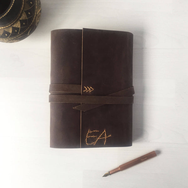 Monogrammed wedding gifts, brown journal butterscotch stitching