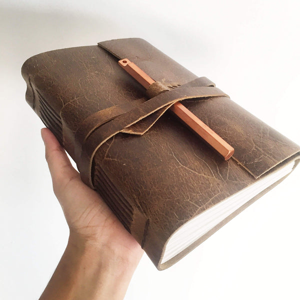 Personalised leather notebook Rustic brown