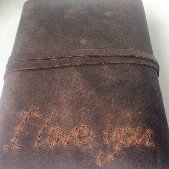 Personalised notebook, brown leather hand stitched I Love You cover