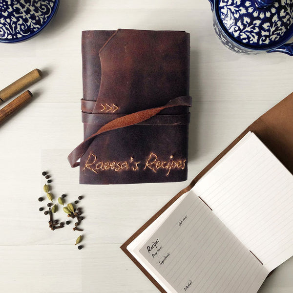 Personalised Recipe Book, Blank Cookbook With Handstitched Names