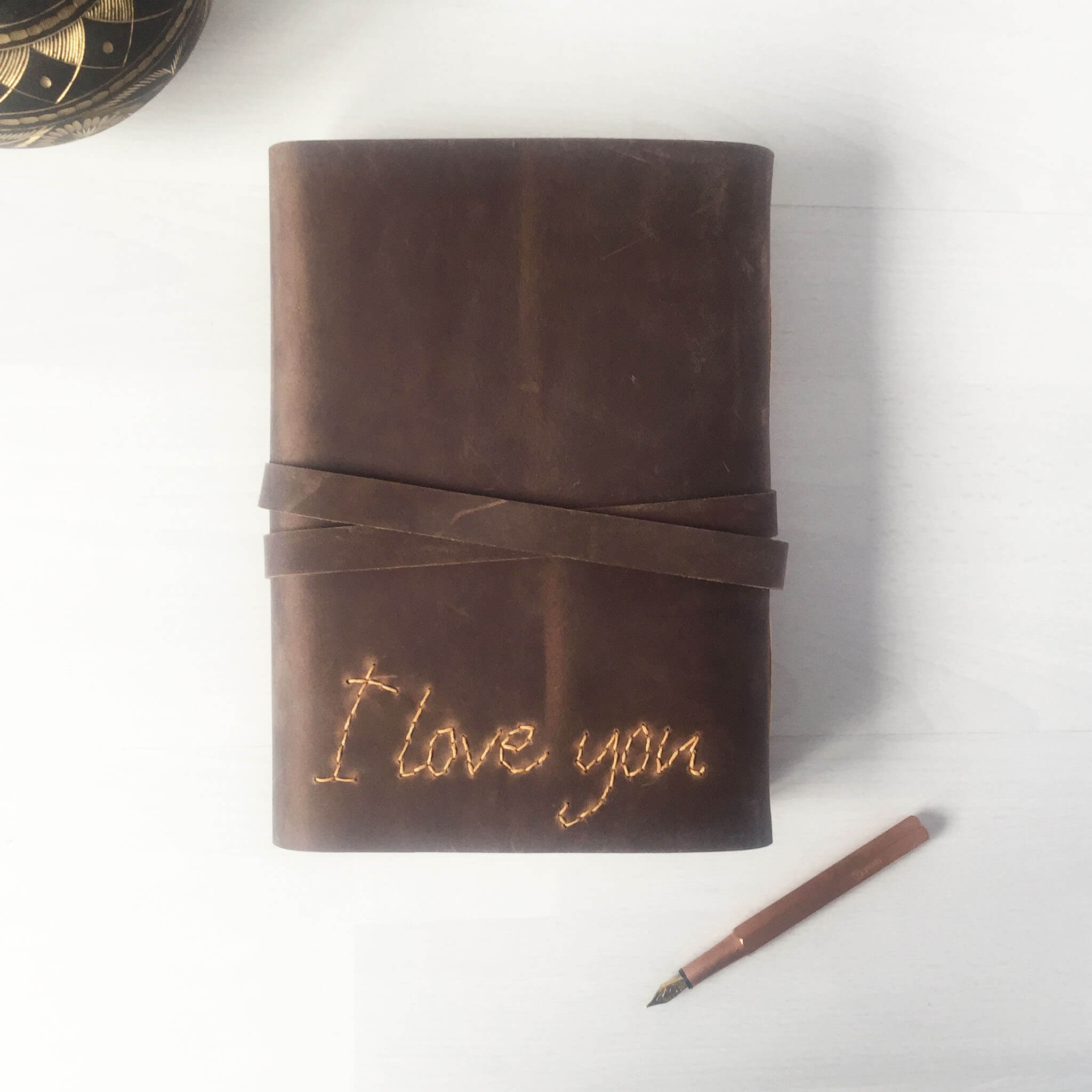 Leather anniversary gifts journal with hand stitched I Love You