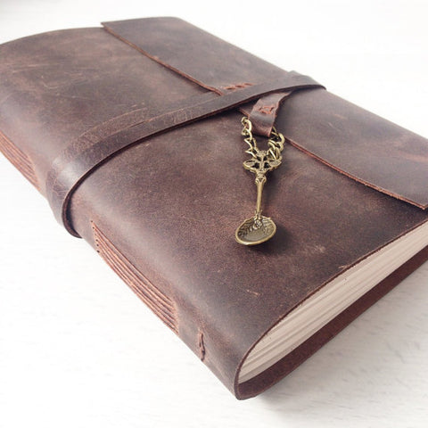 Recipe book in brown leather with bronze spoon charm