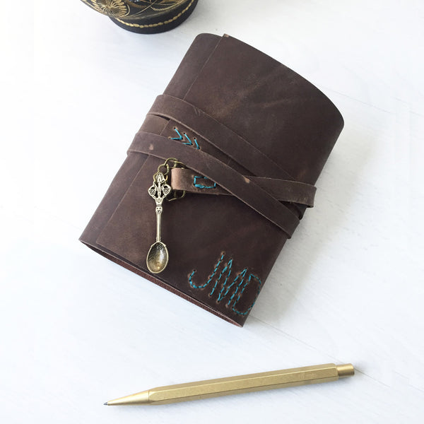 A6 brown leather recipe book, bronze spoon charm