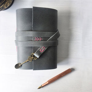 Recipe book, grey leather with spoon charm, front view