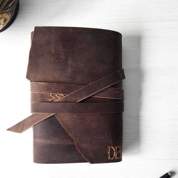 Small leather journal with custom monogram