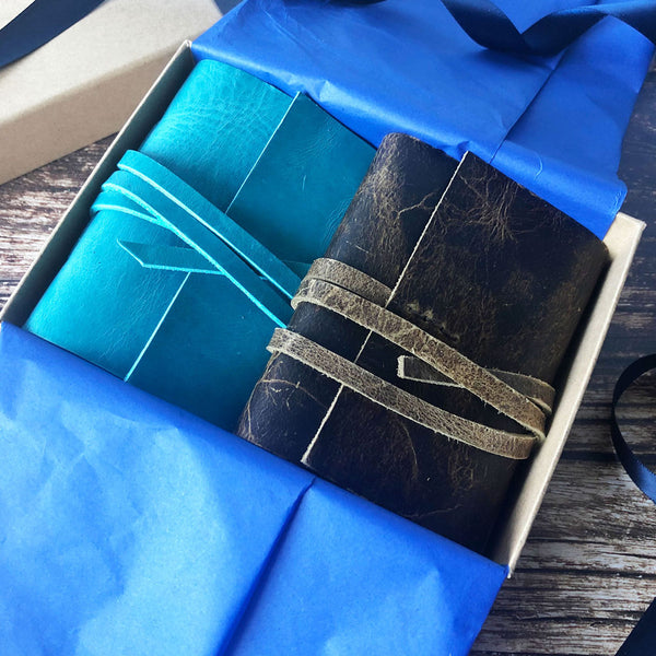 Gift Boxed Set of 2 Small Leather Journals