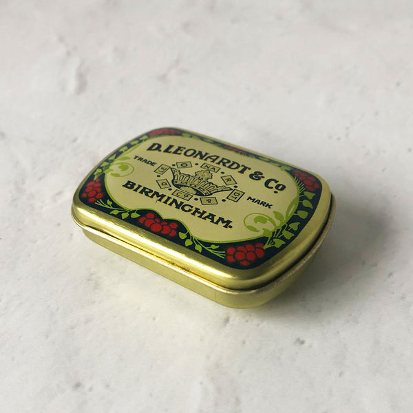 small metal tin, calligraphy nib storage