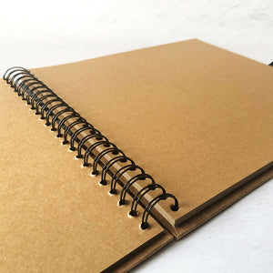 Square Spiral Bound Book, Kraft Brown