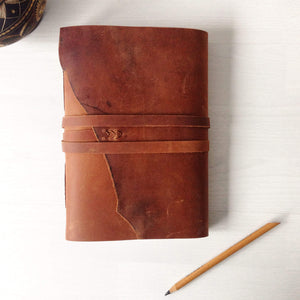 A5 traveler notebook in tan leather, front view