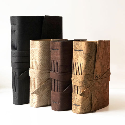 Vegan leather, faux leather journals front