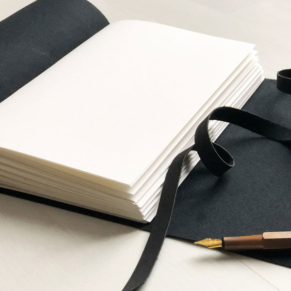 Inside view of black faux leather notebook