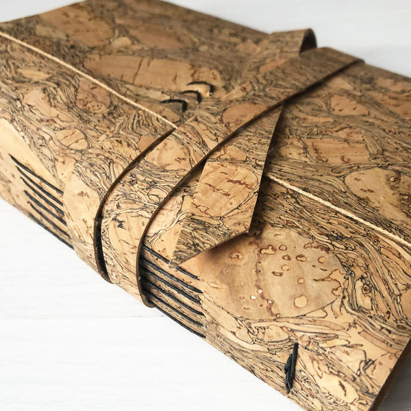 Natural cork leather notebook close up