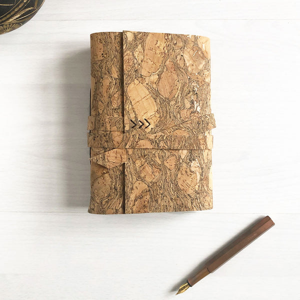 Natural cork leather journal, eco friendly gifts
