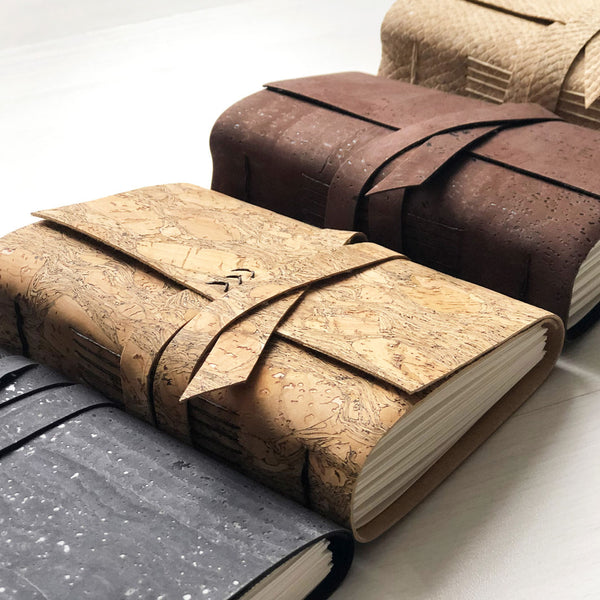 Brown, black, natural and white snake faux leather journals
