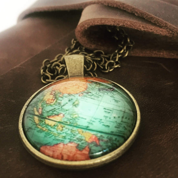 World map globe charm