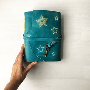 Star Stitched Custom Leather Journal
