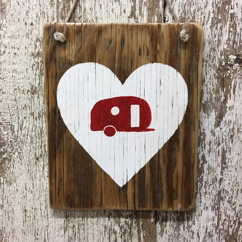 I love camping reclaimed wood sign teardrop camper