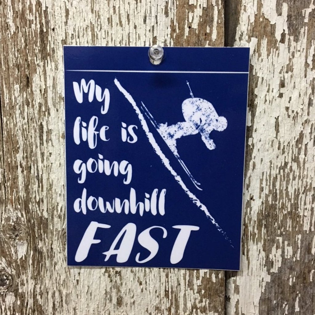 Downhill Skiing Decal My life is going downhill fast with skier blue background white design