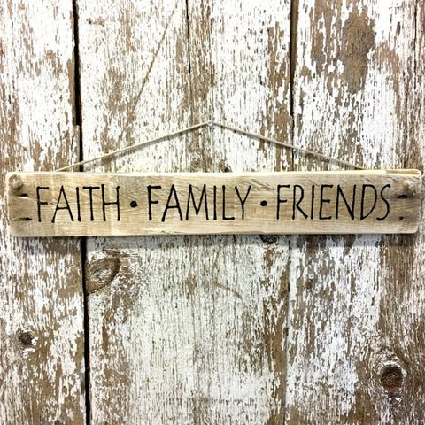 Faith Family Friends Reclaimed Wood Sign