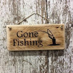 Gone Fishing Fly Fisherman Reclaimed Wood Sign handpainted in black