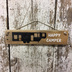 Happy Camper Wood Sign 5th Wheel Camper handpainted in white and black