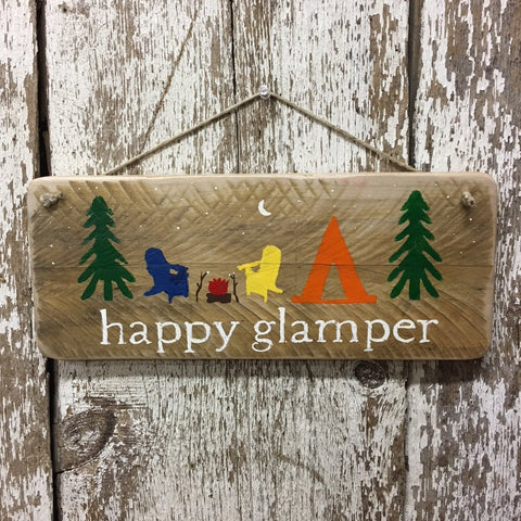 happy glamper wood sign camping glamping campsite sign