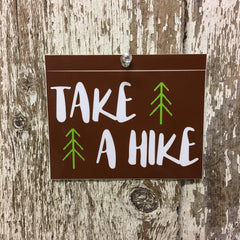 Take a Hiker Decal Hiking Sticker Brown with White Letters and Green Trees