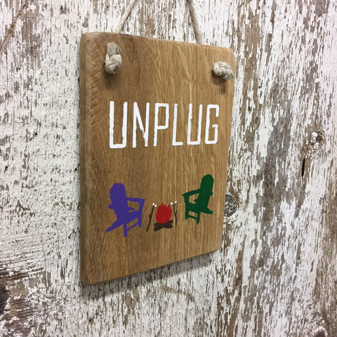 camping decor and gift ideas unplug campfire sign marshmellows