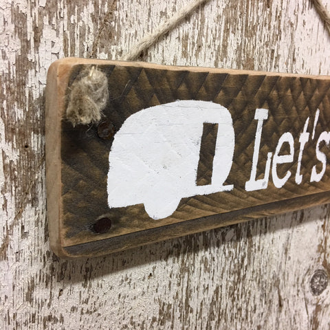 camping gifts and camper decor travel trailer let's go wood sign