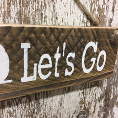 camping decor cool camping gift lets go camper reclaimed wood sign