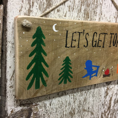 camping gift ideas funny camping sign let's get toasted wood signs