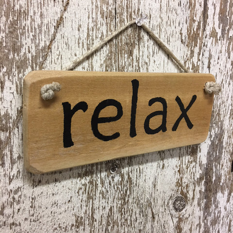 relax calming gift idea and decor reclaimed wood sign just breathe