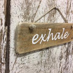 exhale wood sign gift idea for yoga teacher instructor holiday