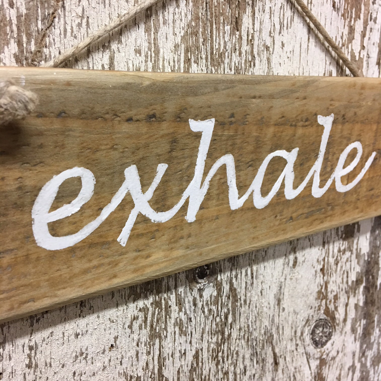 gift idea for stressed person yoga instructor exhale wood sign