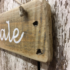 exhale hanging reclaimed wood sign hand painted in white