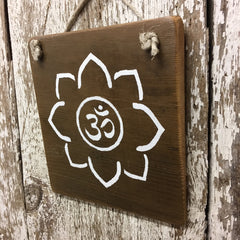 best yoga gifts lotus flower om reclaimed wooden sign unique cool