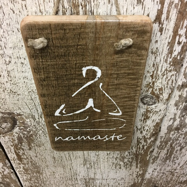 best yoga gifts namaste reclaimed wooden sign unique cool