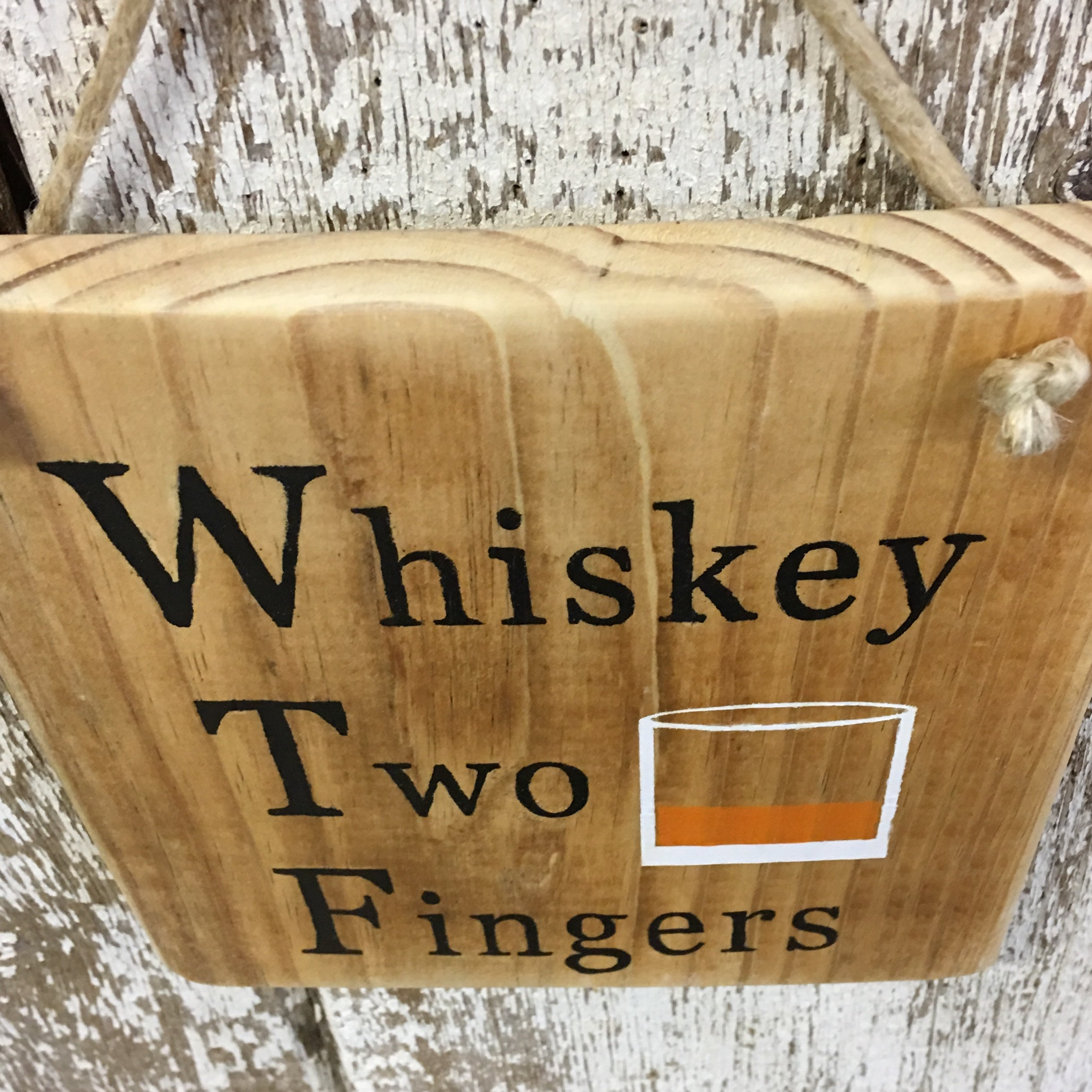 Whiskey Two Fingers WTF Reclaimed Wood Sign