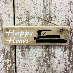 Pontoon Boating Reclaimed Wood Sign Gift for Boat Lovers Happy Hours