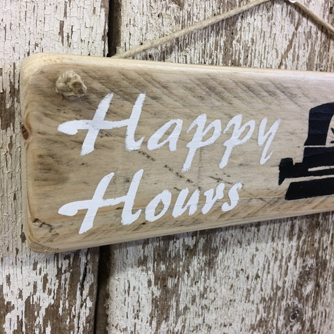 Pontoon Boat Happy Hours Boating Reclaimed Wood Sign