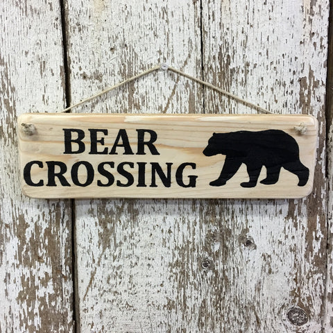 Bear Crossing Black Bear Cabin Decor Reclaimed Wood Sign